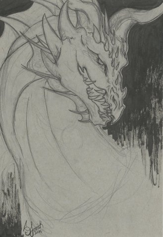 Dragon Head Sketch: is he smiling or just hungry?